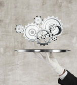 Tray with gears — Stock Photo