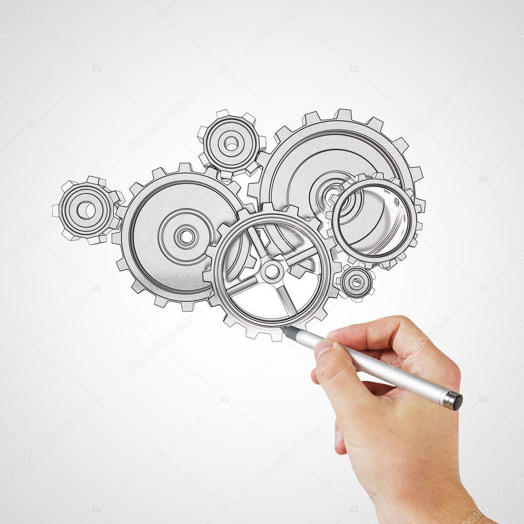 手绘图传动装置和齿轮