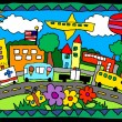 Childrens artwork of a city scene with trucks, buildings, flowers — Stock Vector