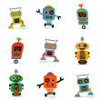Cute little robots — Stock Vector