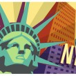 Illustrated travel poster of NYC and Statue of Liberty — Stock Vector