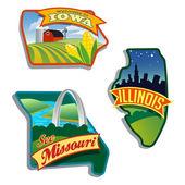 中西部地区美国伊利诺伊州密苏里州爱荷华州 — 图库矢量图片