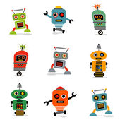 Cute little robots — Vector de stock