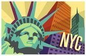 Plakat podróż ilustrowany nyc i statua wolności — Wektor stockowy