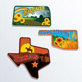 Retro state shape illustrations of Kansas, Oklahoma, and Texas — Stock Vector