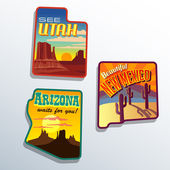 Southwest United States Arizona New Mexico Utah vector travel illustrations designs — Stock Vector