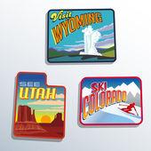Western United States Utah Colorado Wyoming vector illustrations designs — Stock Vector