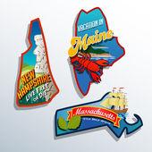 Eastern United States Maine Massachusetts New Hampshire travel illustrations designs — Stock Vector