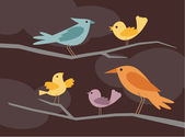 Vector bird set 4 — Stock Vector