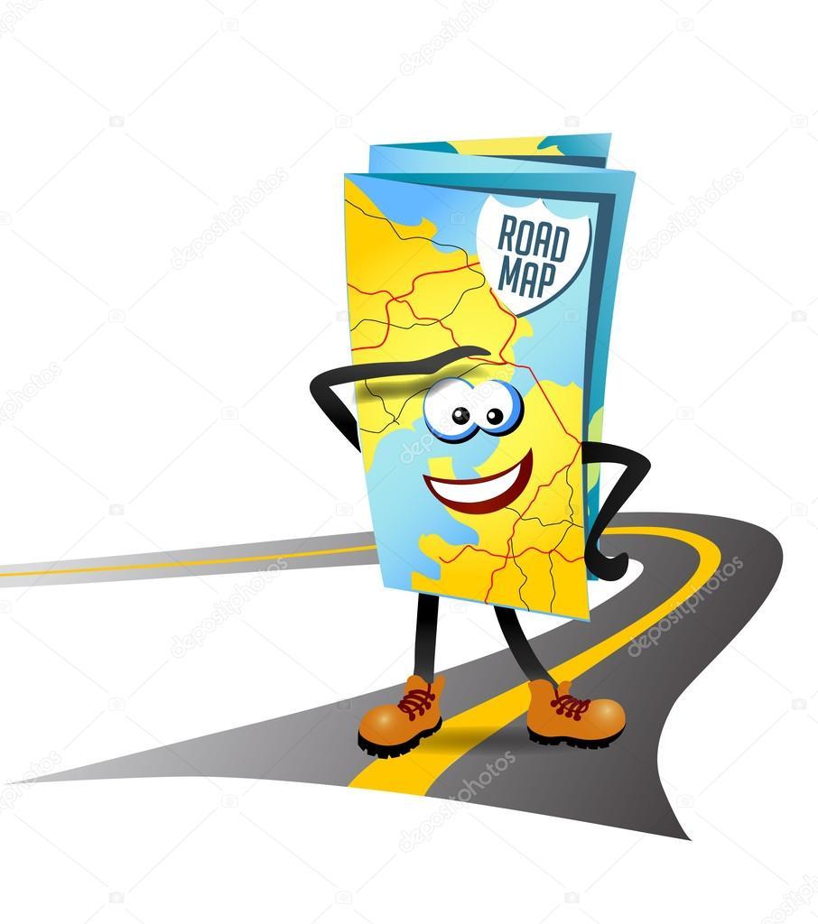 Vector illustration d 39 un personnage de dessin anim de - Dessin de route ...