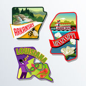 Arkansas Mississippi Louisiana retro luggage sticker designs — Stock Vector
