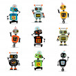 Little robots set 3 — Stock Vector