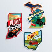 Retro US State illustrations Indiana, Ohio, Michigan — Stock Vector