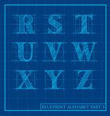 Blueprint style letter set alphabet — Stock Vector