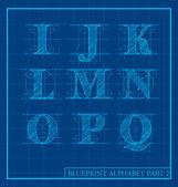 Blauwdruk stijl brief instellen alfabet — Stockvector