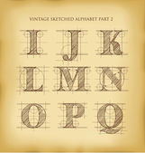 Vintage hand drawn alphabet — Stock Vector