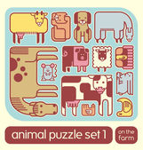 Cute set of vector farm animals — Stock Vector