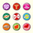 Retro bottle cap designs set 1 — Stock Vector