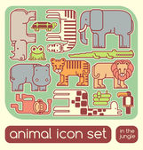 Jungle animals set — Stock Vector