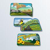 Retro suitcase stickers of united States South Dakota, Nebraska, Kansas — Stock Vector