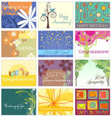 All occasion greeting card set 12 designs — Stock Vector