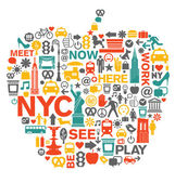 New York City icons and symbols — Stock Vector