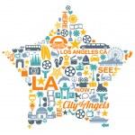Los Angeles California icons symbols landmarks — Stock Vector #47732457