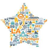 Los Angeles California icons symbols landmarks — Stock Vector