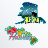 Alaska, Hawaii retro state facts illustrations — Stok Vektör