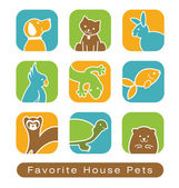 House Pet Icons — Stock Vector