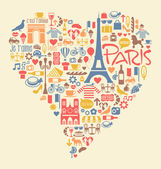 Paris France Icons Landmarks and attractions — Stock Vector
