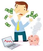 Savings in smoke — Stock Vector