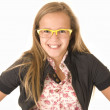 Girl in trendy yellow glasses — Stock Photo