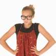 Girl in trendy black glasses and red and black top — Stock Photo
