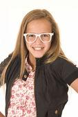 Girl with white glasses big smile — Stock Photo
