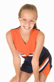 Young cheerleader with trendy glasses — Stock Photo