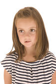 Young girl with big eyes in black and white striped shirt with s — Stock Photo