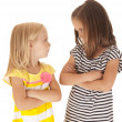 Two sisters with arms folded angry looking at each other — Stock Photo #31233061