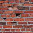Old red clay brick wall weathered unique gray mortor — Stockfoto