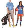Stock Photo: Two teens brother and sister adopted with their sport of choice,
