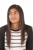 Beautiful Tongan teenage girl portrait looking up away from came — Stock Photo
