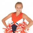 Young high school cheerleader with pom poms from waist up — Stock Photo #33469141