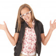 Young female model in white glasses posing with hands out — Stock Photo #33469251