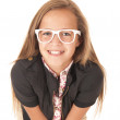 Young female model in white glasses leaning forward — Stock Photo