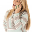 Young blonde woman talking on cell phone laughing — Stock Photo #34781317
