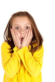 Cute young girl with fun startled face expression — Stock Photo