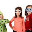 Girls smiling wearing fun christmas glasses — Stock Photo #36314033
