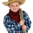 Adorable young boy wearing cowboy hat holding rope — Stock Photo