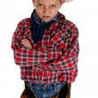 Stock Photo: Young cowboy glaring at camerwearing hat and chaps arms folded