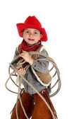 Cute young cowboy playing with rope — Foto de Stock